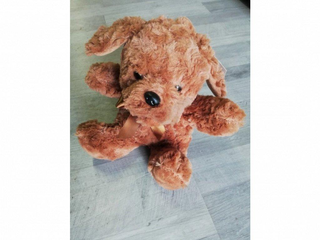 Hračka plyšový pes JAKUB s motýlkem 18 cm